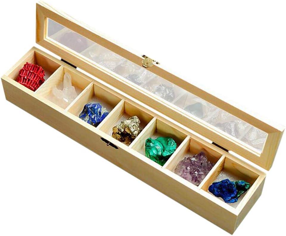 Sharplace 7 Piezas Roca Mineral Colección Cristal Cuarzo Tierra Ciencia Colección con Caja de Madera: Amazon.es: Juguetes y juegos