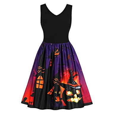 8cae39b9986 ZYUEER Femmes Robes Halloween Citrouille Imprimé A - Ligne Manches Courtes  Vintage