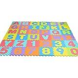 Bloodyrippa Kids Puzzle Alphabet Numbers Play Mat, Color Interlocking EVA Foam Floor Mat, 36 Pieces