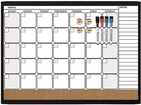 44202-BK Quartet Combination Magnetic Whiteboard Calendar /& Corkboard Value Pack 17 x 23 Combo White Board /& Cork Board Black Frame