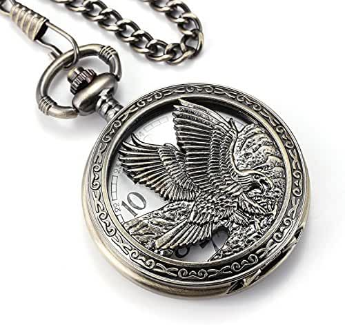 Smart.Deal Eagle Design Pocket Watch Chain Quartz Movement Arabic Numerals Half Hunter for Eagle Scout