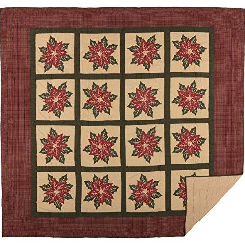 VHC Brands Seasonal Bedding National Museum Poinsettia Block Tan Quilt, King