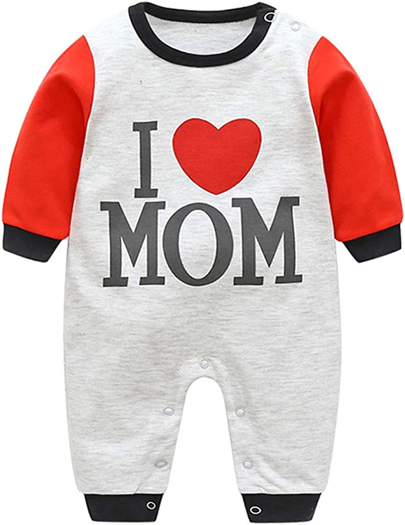 Newborn Infant Baby Boy Girl I Love Mom Letter Print Romper Jumpsuit Mothers Day Casual Clothes Outfits