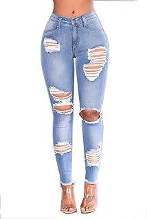 DAMENGXIANG Jeans Pitillo De Mujer Deshilachados Pantalones Elásticos
