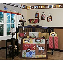 GEENY Amazon Jungle, Boy's 13-piece Crib Bedding Set, Animal-Themed Set Features Images Of Monkeys, Elephants, Giraffes And Zebras On A Quilt, Bumper, Diaper Stacker, Crib Skirt