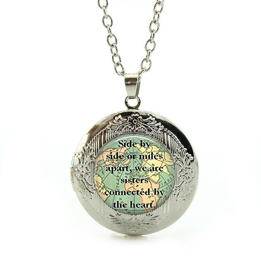 SunShine Day Silver Necklace, Sister Map Travel World Map Design Girls/Boys Chain Necklace with Pendant