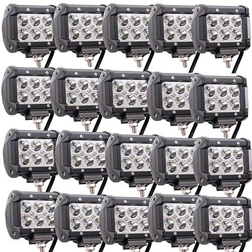 Lled Pod Lights, 20PCS 18W Spotlights Led Light Bar Fog Lights Offroad Led Trailer Lights for Tractor Truck Forklifts ATV SUV JEEP Boat Snow Plow 4 wheeler