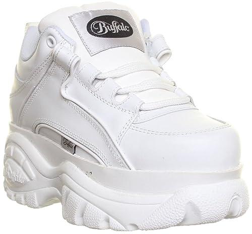 Buffalo - Zapatillas de cuero para mujer, color blanco, talla 39.5: Amazon.es: Zapatos y complementos