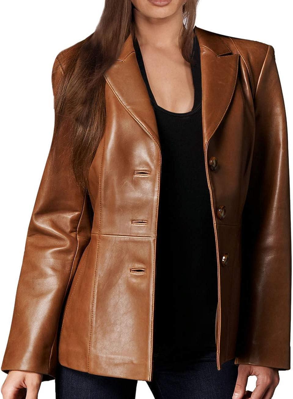 Leather Hubb Cowhide Women's Leather Tan Brown Leather Blazer/Jacket at  Amazon Women's Coats Shop