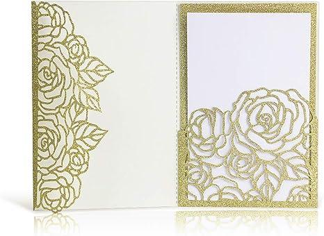 Amazon.com: Laser Cut Wedding Invitations with Envelopes - 25pcs 3 ...