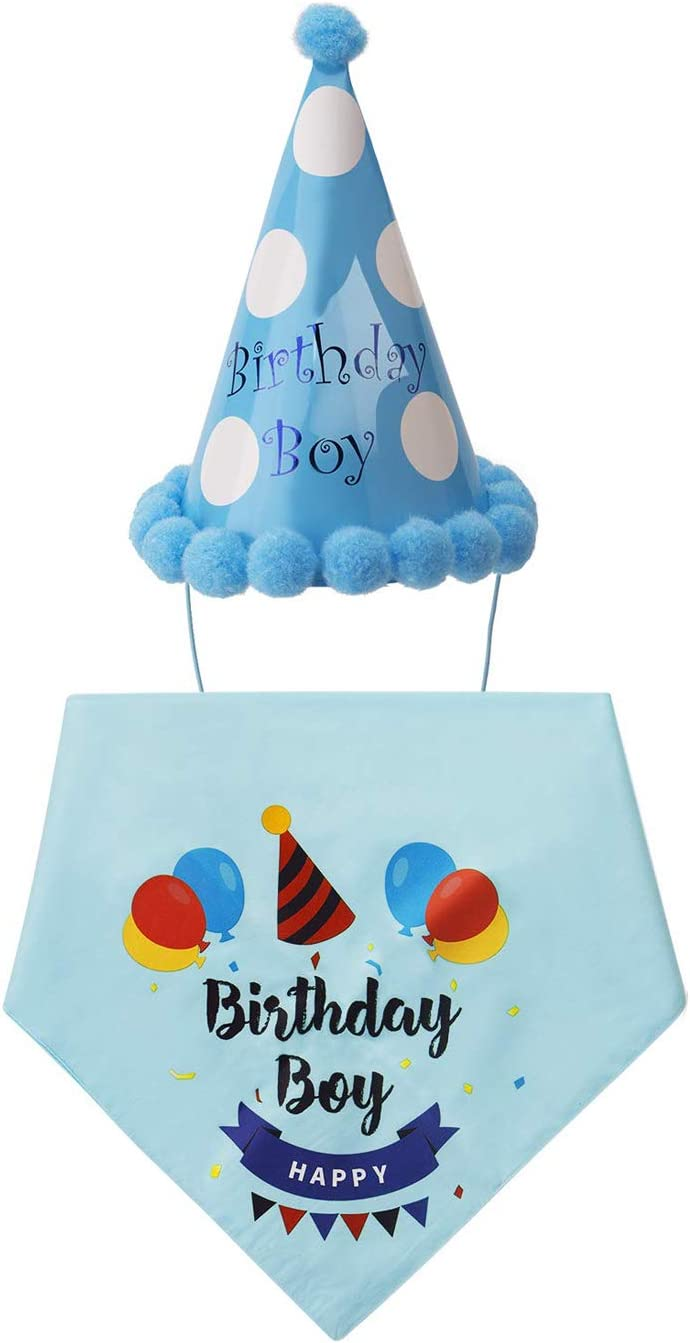 Hui Jin Dog Birthday Bandana And Hat Triangle Scarfs Cute Party Decoration For Happy Birthday Pet Blue Amazon Co Uk Kitchen Home