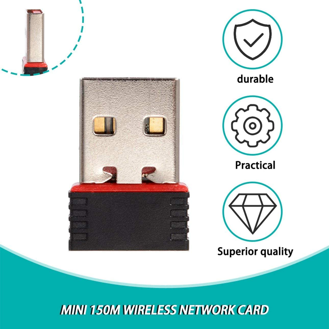 Liobaba 150Mbps 150M Mini USB WiFi Wireless Adapter Network LAN Card 802.11n//g//b Portable Mini Pockets USB WiFi Receivers Adapter