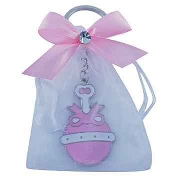 Amazon.com: Baby Girl Shower Rattle Keychain Favor Pink ...