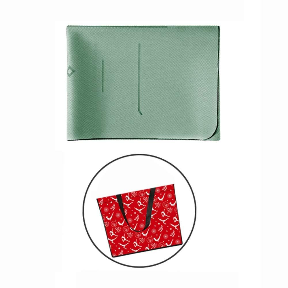 TPE天然ゴム体ラインヨガ毛布滑り止めフィットネスマットピラティスダンス収納バッグ付き183×66センチ1.5ミリメートル4色 (色 : Green, サイズ さいず : Body line style) Body line style Green B07PLHND8B