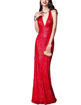 Kevins Bridal V-Neck Halter Prom Dresses Sparkly Sequins Mermaid Long Evening Gowns Red Size