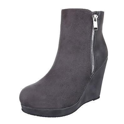 Ital-Design Keilstiefeletten Damen Schuhe Plateau Keilabsatz/Wedge Leicht  Gefütterte Reißverschluss Stiefeletten Grau,