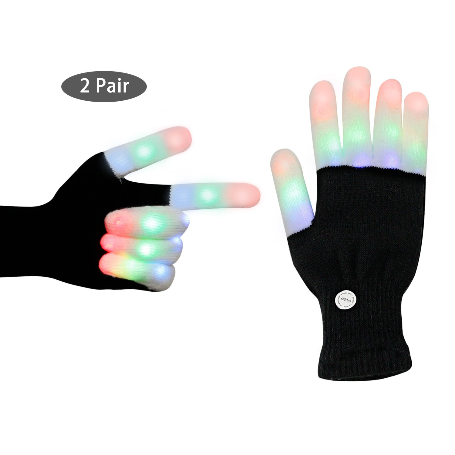 LED Gloves, Light up Colorful Finger lighting Glow Rave Glove with 3 Colors 6 Modes Flashing for Kids Adults for Party LightShow Disco Camping Halloween Christmas Birthday Gifts (2 Pair)