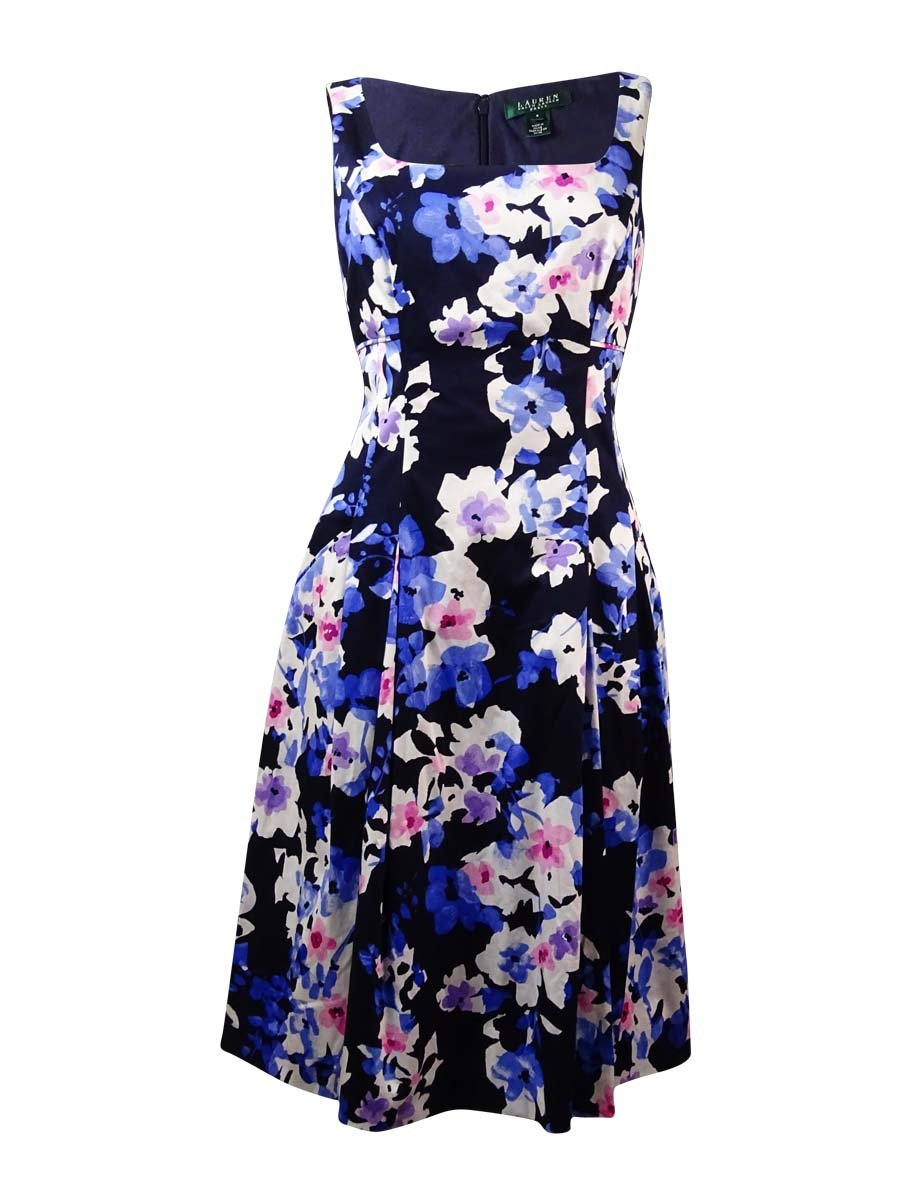 Lauren Ralph Lauren Womens Printed Sleeveless Casual Dress Blue 14