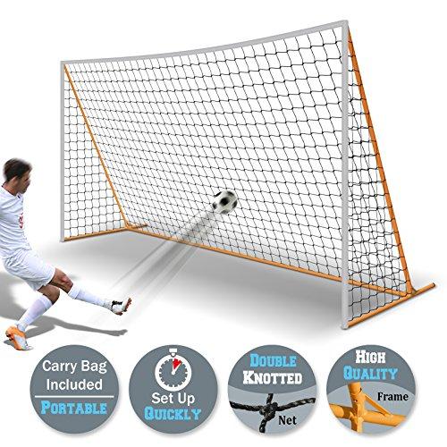 BenefitUSA 12' x 6' Portable Soccer Goal Football Goal Sport Training Sets Quick Set-Up (black net)