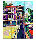 Plein Air Digital Oil Painting Town Old Vertical Tile Mural Satin Finish 48''Hx42''W 6 Inch Tile