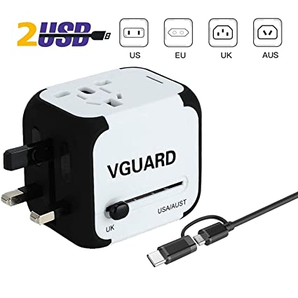 VGUARD Adaptador Enchufe Ingles de Viaje Universal Cargador Internacional con MAX 2.4A para Americano Europeo UK USA 150 Países [Cable Lighting & 2 en 1 Cable Micro USB y Tipo C ](Blanco)