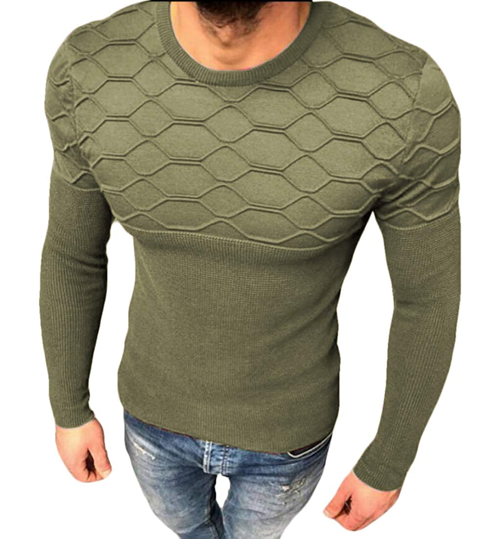Nanquan Men O Neck Sweater Ribbed Kintted Long Sleeve Classic Fit Solid Color Blouse