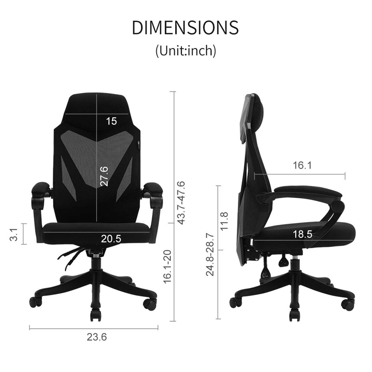 Hbada Office Computer Desk Chair - Ergonomic High-Back Swivel Task Gaming Chair - White by Hbada (Image #7)