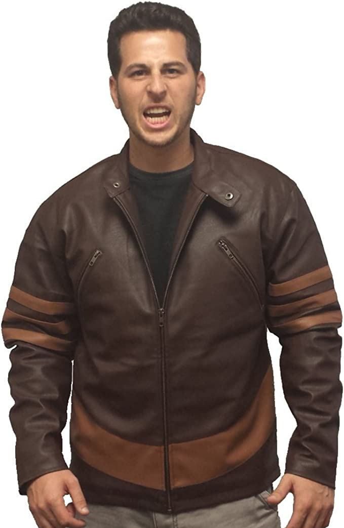 Wolverine Faux Leather Jacket X-Men Movie Logan Costume Hugh Jackman Adult Mens