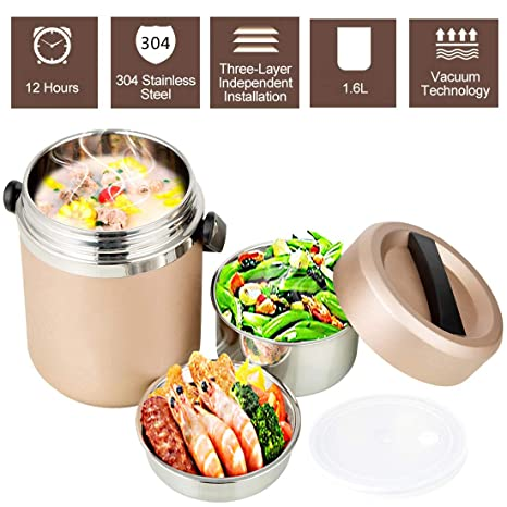 7c3277e3a Vacuum Insulated Lunch Box Food Container Stainless Steel Thermal Insulated Lunch  Bento Box Food Storage Stackable