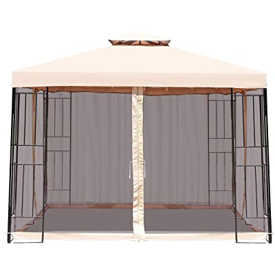 Mandycng Canopy Patio Garden Celemony Tent Gazebo 2Tiers Vents Roof, 10'x10' Outdoor Dinner Picnic BBQ Wedding Birthday Party Event Shelter, Sun&Rain Protection, 4 PE Mesh Net Door Side Wall : Garden & Outdoor