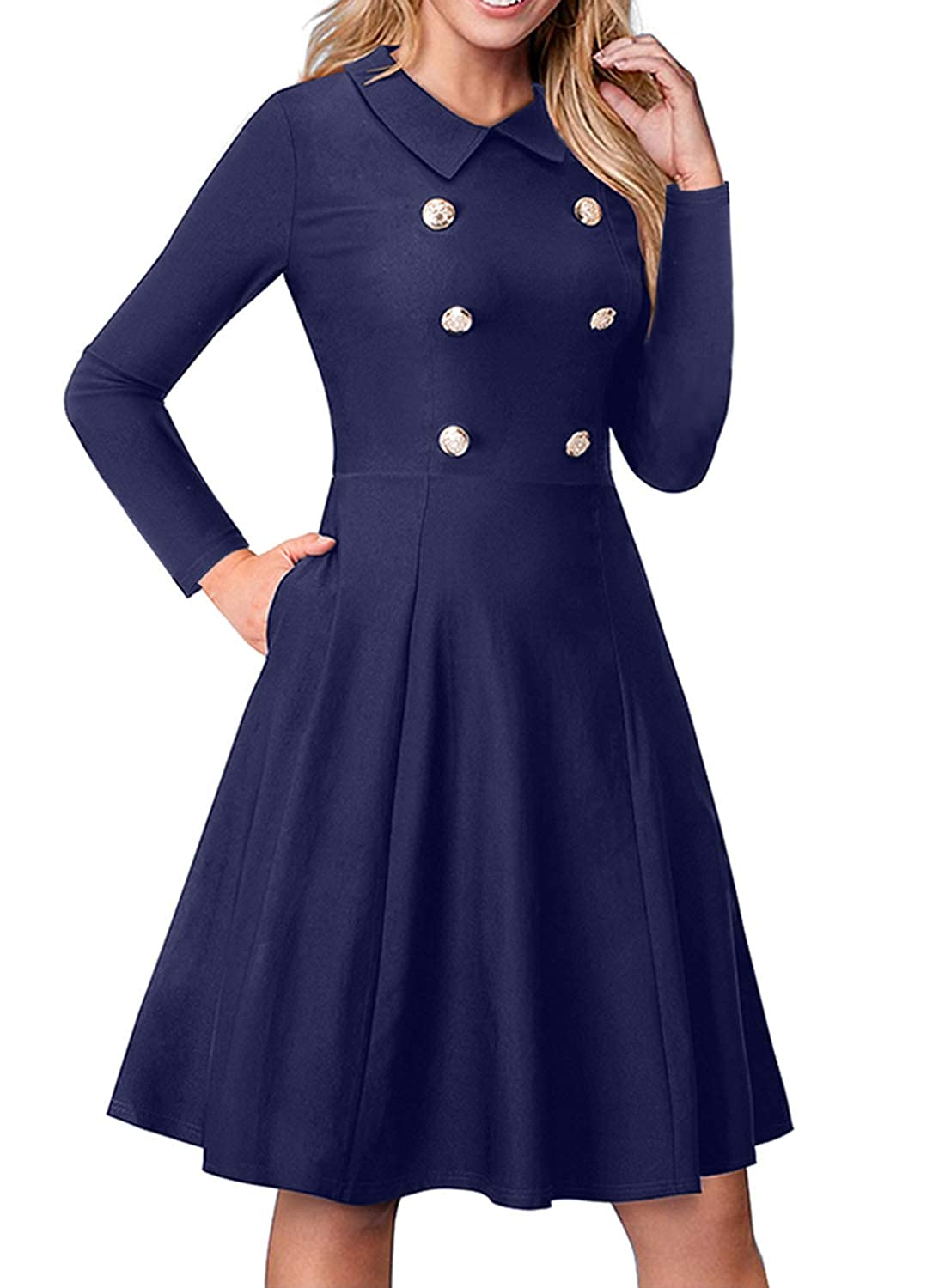 bluee Foryingni Women's Long Sleeve Turn Down Collar Double Breasted Midi Business Swing Dress with Pockets