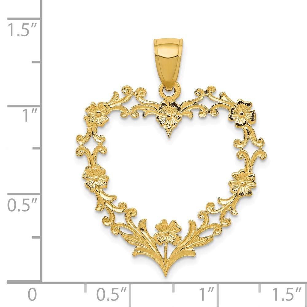 Mia Diamonds 14k Solid Yellow Gold Large Floral Heart Pendant 31mm x 27mm