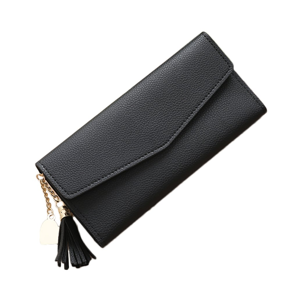 de28b7cb89c9 Connoworld - Fashion Women Faux Leather Long Wallet Card Slot Tassel ...