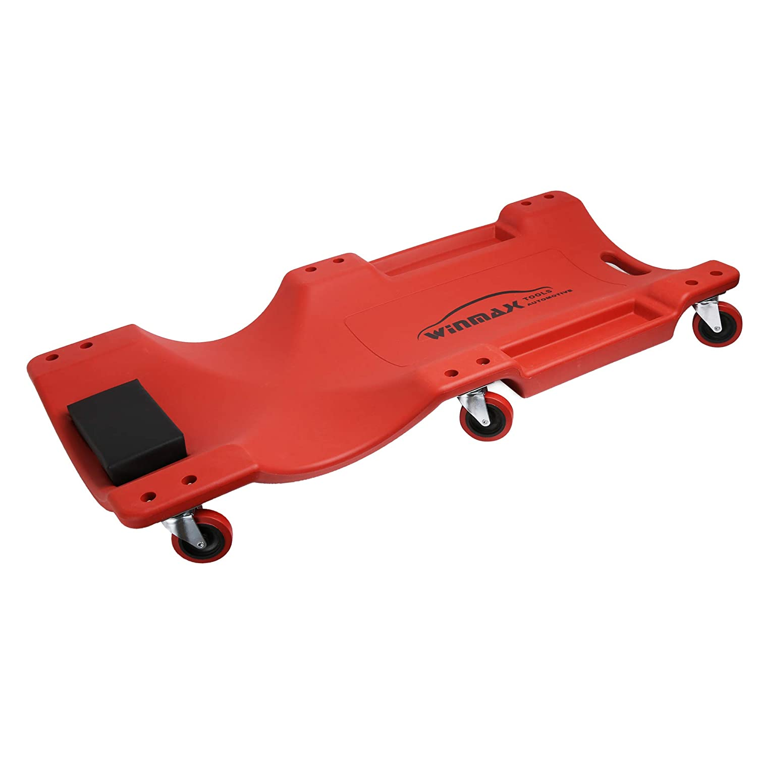 WINTOOLS Low Profile Red 40 Inch Creeper Garage Plastic Rolling Car Repair Mechanic Cart
