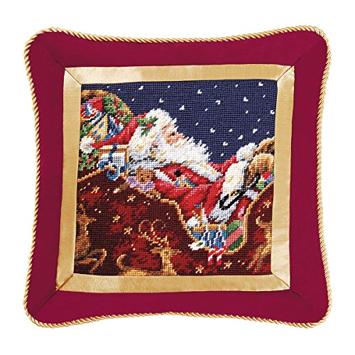 16'' Needlepoint Pillow - Santa with Sleigh by C&F