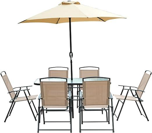 Outsunny Conjunto de Muebles para Jardín Terraza y Exterior con Sillas Plegables Sombrilla y Mesa de Cristal: Amazon.es: Hogar