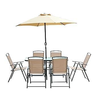 conjunto de muebles para jardn terraza y exterior con sillas plegables sombrilla y mesa de cristal