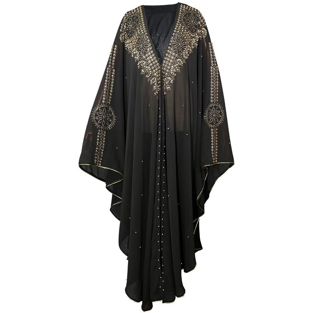 HD African Women Summer Maxi Dress Dubai Cover Up Kaftan Chiffon Abaya with Beads Black