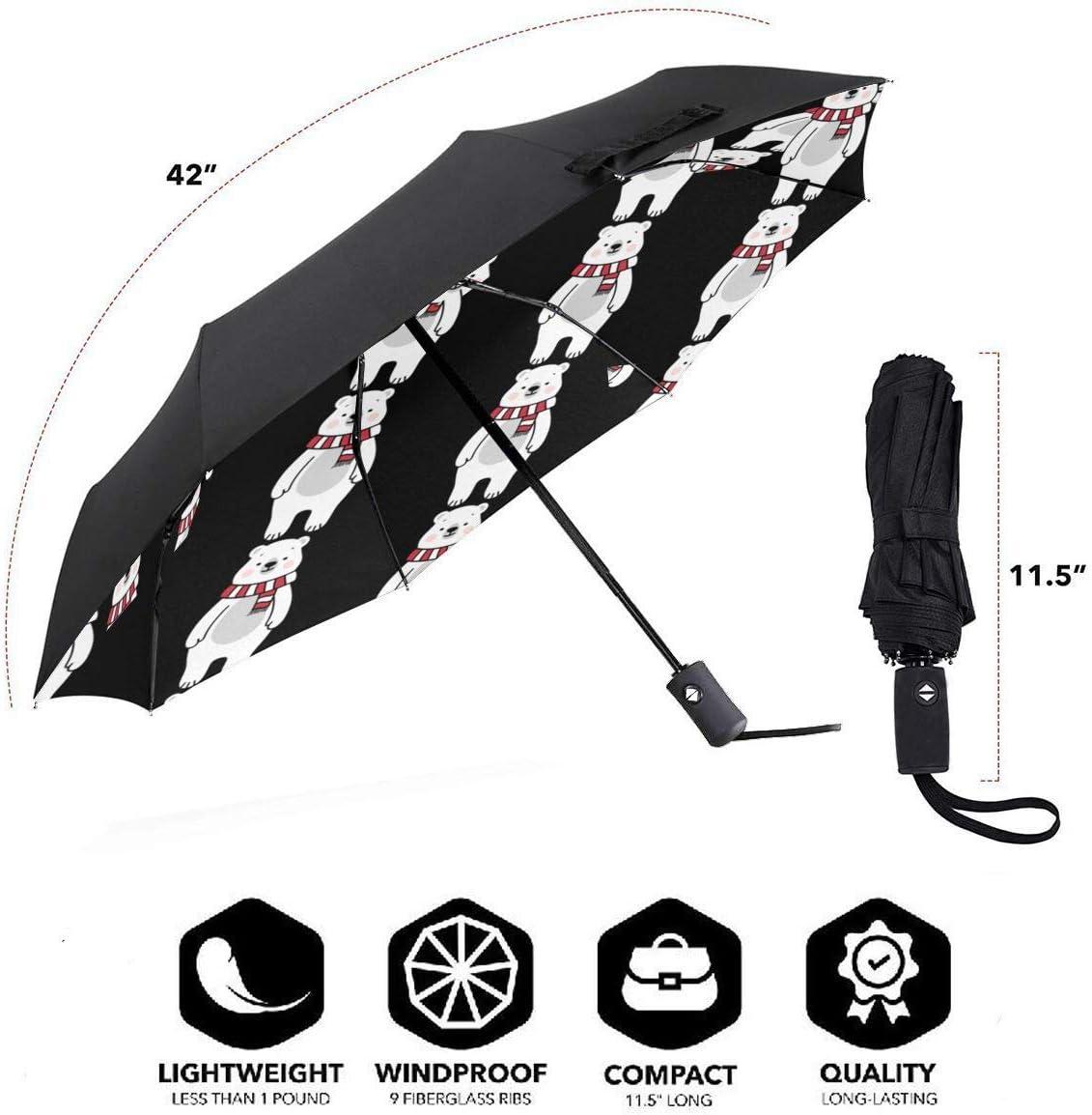 Cute Polar Bear Automatic Tri-Fold Umbrella Parasol Sun Umbrella Sunshade
