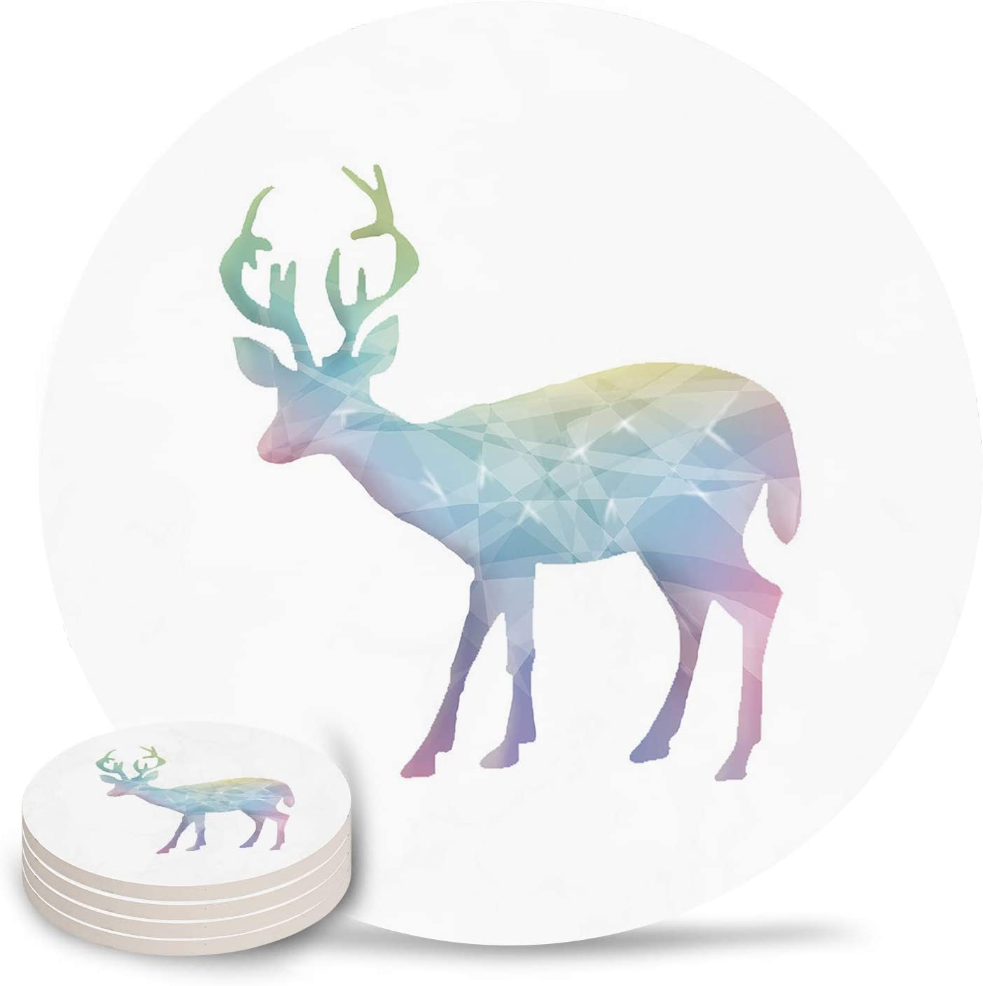 Coasters for Drinks Set of 4- Christmas Crystal Reindeer Absorbent Ceramic Coaster with Cork Back for Bar Office Coffee, Housewarming Gifts