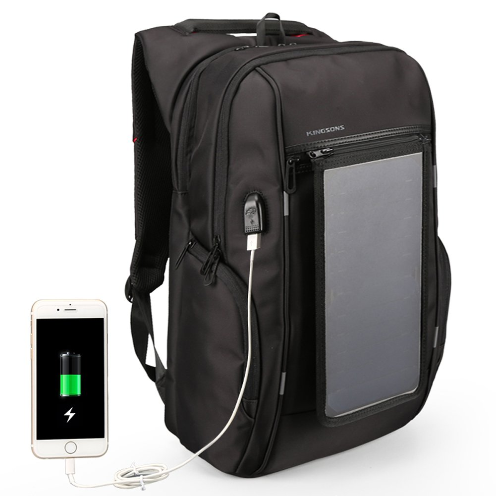 Kingsons Mens Solar Power Charge Backpack 15.6 inch Anti-theft Laptop Daypack