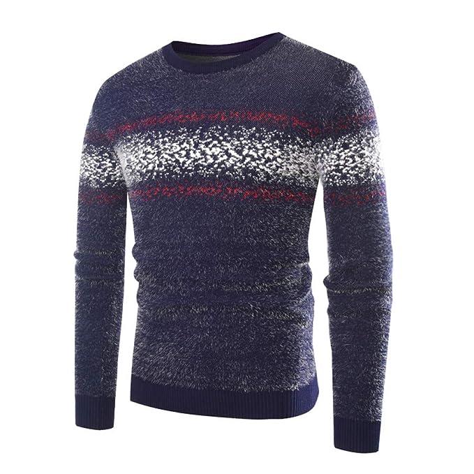 Celucke Norweger Pullover Herren Strickpullover Feinstrick Warm Strickjacke Winter  Sweatshirt mit Rundhals Langarm 2119973ffd