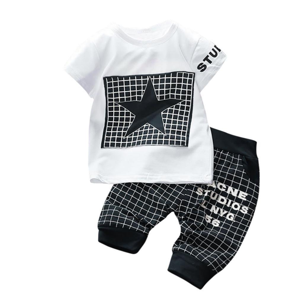 2pc Neonato Ragazzi Bambino Camicia Stampa Manica corta Stella  Stampare Plaid Top T shirt + Pantaloncini Abiti Outfits Clothes Set