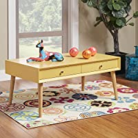 iNSPIRE Q Marin Danish Modern 2-drawer Accent Coffee Table, Modern Coffee Table (Yellow)