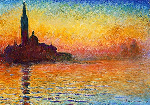 San Giorgio Maggiore at Dusk by Claude Monet French Impressionism Plein Air Landscape Peel and Stick Large Wall Mural Removable Wallpaper
