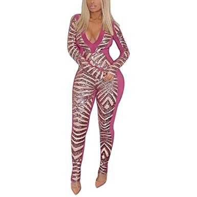 24dfd732a8db Joseph Costume Women Sexy Sequin Deep V Neck Long Sleeve Bodycon Party  Jumpsuit Rompers Clubwear