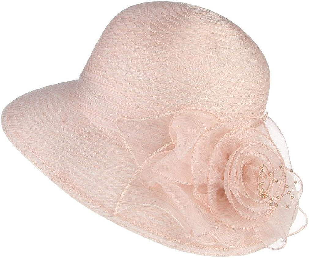 Lukis Women Organza Flower Church Blower Sun Tea Party Derby Hat