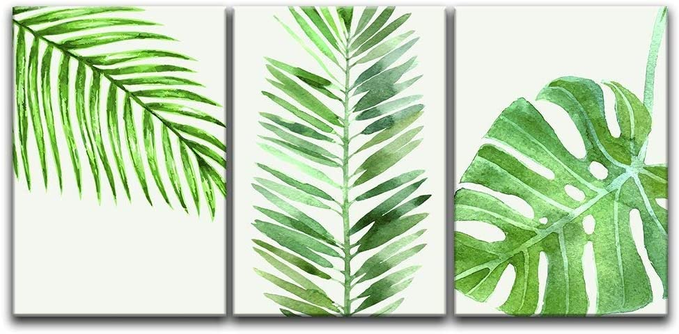 """wall26 3 Panel Canvas Wall Art - Watercolor Style Green Tropical Leaves - Giclee Print Gallery Wrap Modern Home Decor Ready to Hang - 24""""x36"""" x 3 Panels"""