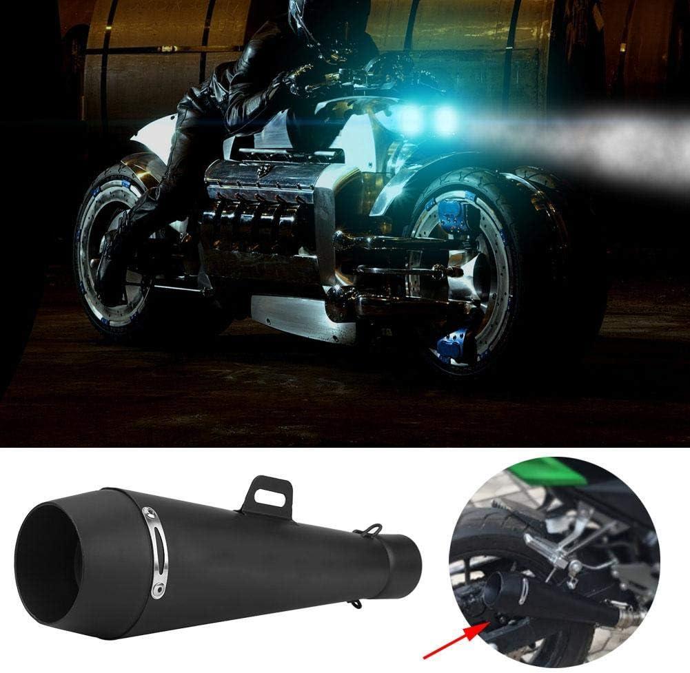 Qiilu Universal Black Motorcycle Exhaust Tail Pipe Muffler 51mm Slip On Escape Exhaust Muffler Pipe Kit for Honda CBR1000 Yamaha R6 Kawasaki