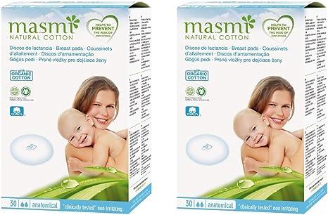 2 x 30 masmi almohadillas de lactancia algodón orgánico ...